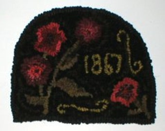 PrimiTive Folkart 1867 Penny Floral HooKed Rug, BeaconHillCollectibles Hooked Rugs