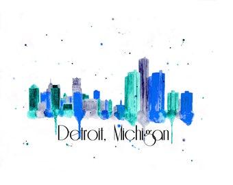 Detroit Art - Detroit Canvas Print - Detroit Skyline Painting - Detroit Wall Art - Cityscape - Detroit Wall Art - Detroit Themed Gift