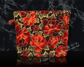 Toiletry bag / makeup-flowers peonies Red Ruby/red cherry/green Emerald on black background and gold