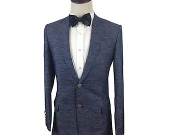Linen Suit in Grey-Blue