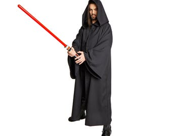 JEDI Sith Lord Wizard Costume Cloak Adult Black Small Medium Large