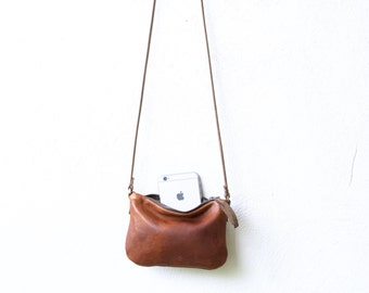 sale - small leather case with cross body strap - small leather cross body bag