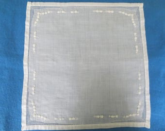Vintage 1940's Net and Embroidery White Hanky Handkerchief