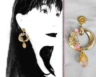 Blush Pink Hoops, Unusual Earrings, SERIOUSLY OOAK Handmade with Recycled 40s Vintage, Long Hoop Dangles, Pink Hoop Earrings in Gift Box