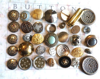 35 Metal VINTAGE Buttons Shank Buttons Old Metal Buttons from Muscatine Iowa