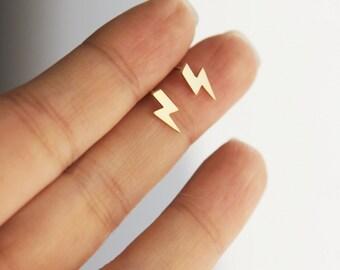 tiny Lightning bolt earrings in matte gold or matte silver finish