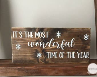 Christmas Sign • Christmas Decor • Xmas sign • Xmas • It's the most wonderful time of the year • Wood Sign