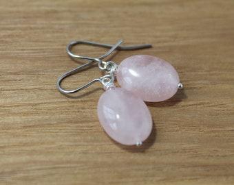 Rose Quartz oval drop earrings