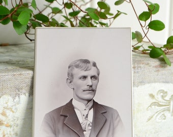 Professional cabinet card, antique Swedish atelier photo , Köping Sweden , man with moustache