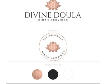 Rose Gold Logo Doula Logo Birth Services Logo Midwife Logo Photography Logo Lotus Logo Yoga Logo Lotus Flower Zen Logo Branding Package
