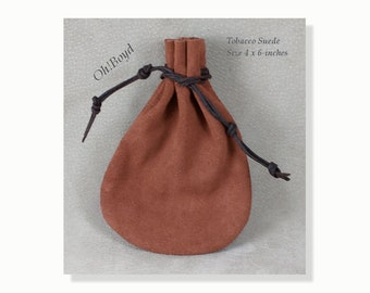 Suede Pouch, 4 x 6-inches Tobacco Brown, Old Fashioned Quality Drawstring Pouch, Heavy Duty Bag for Storing, Collecting, Special Present