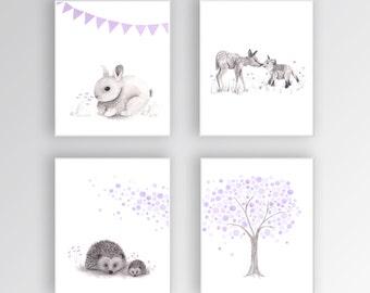 Nursery Art CANVASES Woodland Nursery Art Baby Girl Nursery Decor, Purple and Gray, Rabbit Nursery, Deer Art, Set of 4 Canvases - S423