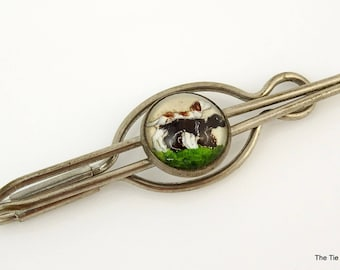 Vintage 1930s Tie Bar Clip Reverse Painted Dogs