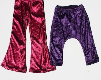Crushed Velvet Bell Bottoms Child Velvet Pant Toddler Bell Bottoms  Crushed Velvet Toddler Pant Autumn Child Pant Crushed Velvet Child Pant