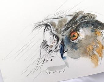 Owl Portrait 3 - Original Watercolor Painting