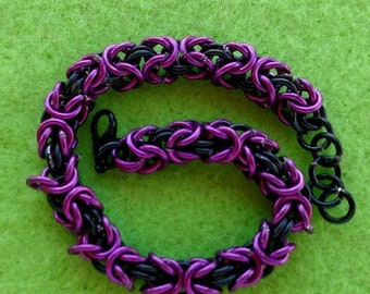 Chain Maille Bracelet, Purple and Black