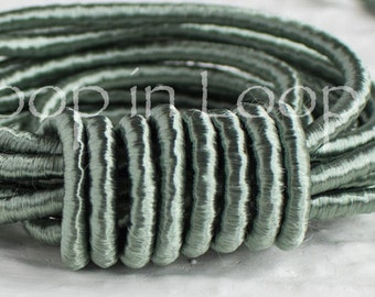 Green Blue Jade SILK cord, Wrapped Silk Satin Cord rope 3.5 mm thick, organic natural hand spun silk, polyester core, for Jewelry