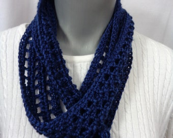 Navy Blue Scarf, Thin Blue Infinity Scarf, Lightweight Indoor or Outdoor Dark Blue Neckwear with Soft Yarn, Gift for Mom, Spring Accessory