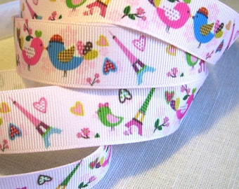 Ribbon grosgrain printed * 22 mm * COUPLE pale pink Eiffel Tower heart love birds - sold by the yard