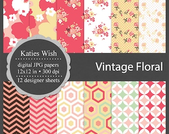 Vintage Floral Digital paper backgrounds for planner design, scrapbooking, sticker design, commercial use