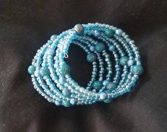 Opaque Blue Seed Bead Bracelet, Memory Wire Bracelet, Ready to Ship, Women's Blue Beaded Bracelet, Beaded Bracelet, Blue Fashion Accessory