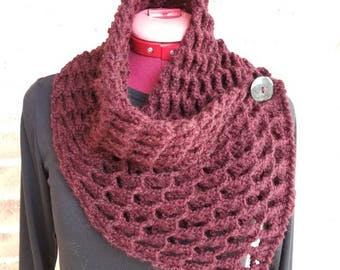Scarf, Neck warmer, 3D Scarf, Accessories, Crochet Cowl, Handmade Scarf, Perfect Gift ,Cowl, Neckwarmer,  Burgundy,