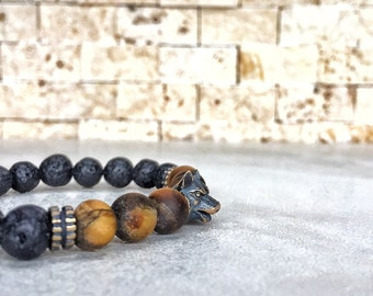 Mens Wolf Bracelet, Nymeria Bracelet, Tigereye Bracelet, Bracelet For Men, Protection Bracelet, Direwolf Bracelet, Game Of Thrones, Gift