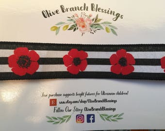 Black and Red Poppy Ribbon Headband