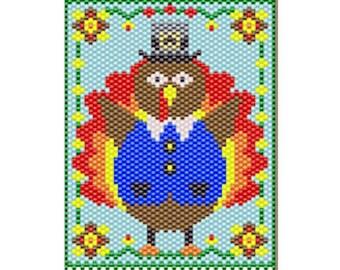Tom turkey pony bead banner pattern