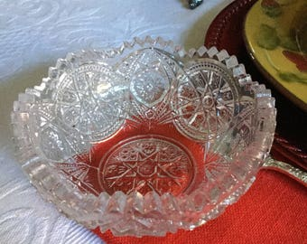 Antique LG Wright EAPG Saw Tooth Cut Glass Bowl/Dish