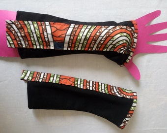 Pair of mittens without finger black spandex fabric and strip wax.