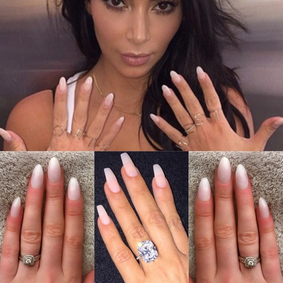 Natural pink nails press on nails Coffin nails kim
