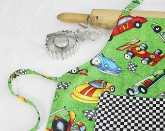 Racecar Child Apron with pocket