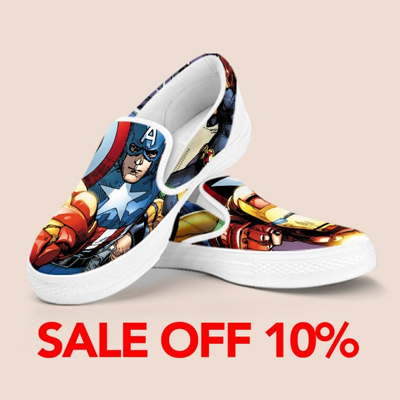 Marvel Slip Shoes Shoes Captain on Marvel Custom Comics Man Slip On Shoe Infinity Avengers Iron Vans Superhero Custom War America Shoes RtUOwqP