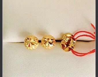 Solid 22k gold diamond cut round ear studs 916 gold