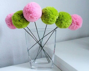 Pom pom Flower, Flower Arrangement, Pom Pom Bouquet, Flower Bouquet, Yarn Flowers, Home Decor, Table Decoration, Bridal Flowers, Baby Shower