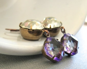 Rhinestone Earrings, Copper Earrings, Copper Jewelry, Vintage Glass, Vintage Rhinestone, Crystal Clear, Purple Glass