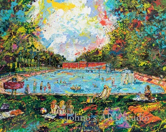 Swimming, Swimming Pool art,  Game room wall art, Summer wall art,  Johno Prascak, Johnos Art Studio