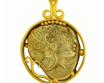 450bc Greek Athena/Owl Pendant set in 22k gold