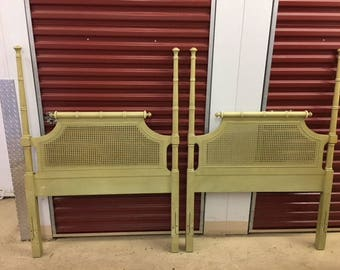 BAM-BEAUTIES / Stunning Pair Of Twin Faux Bamboo And Cane Solid Wood Headboards / Palm Beach Chic / Hollywood Regency