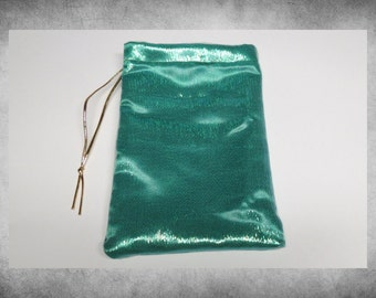 "Layered Bag - Mystic Organza - 6x9""  Teal Shimmering Blue over Green Satin drawstring bag.  LBAG-309"
