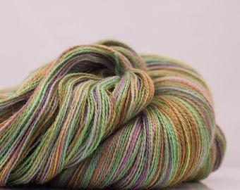 Hand Dyed Lace Weight Yarn 'Light Green / Lavender / Copper' Alpaca / Silk Knitting Yarn Shawl Yarn