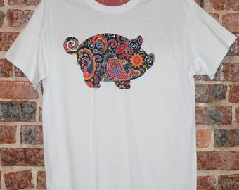 PIG TShirt Paisley T Shirt Tee PIG Show Shirt Black Paisley Womans Ladies Girls Teen Ladies White