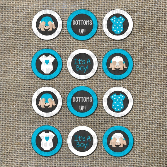 Bottoms up baby shower baby q blue boy cupcake toppers junglespirit Choice Image