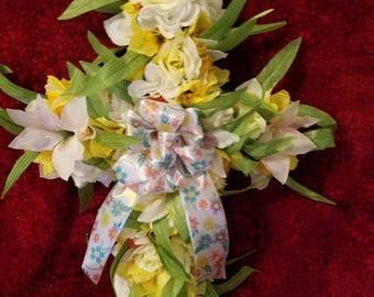 Easter Handmade  Cross,Spring Cross,  Dandelion Rose Cross,  Floral cross, Easter Cross Wreath, Spring Cross Wreath, Floral Cross Wreath,
