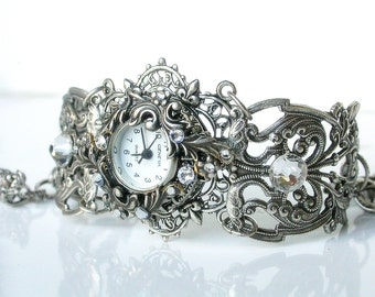Silver Watch Women Watches Floral Bracelet Watch Ladies Filigree Watch Vintage Style Victorian Gothic Unique Watches Victorian Jewelry