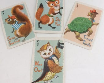 Set of Four Whitman Funny Animal Old Maid Playing Cards- Scrapbooking, Paper Craft- Kitsch Sly Fox, Wise Owl, Sassy Squirrel, Turned Tortoi