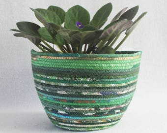 Rope Coiled Boho Basket / Fabric wrapped clothesline basket / Plant Pot / Eco Green Large Round by PrairieThreads