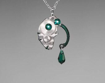 Emerald Swarovski Crystal Steampunk Pendant, Green Crystal, Statement Jewelry, Swarovski Necklace, Watch Parts, Bold pendant, Ares v12