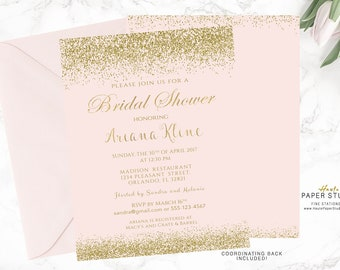 Pink Gold Bridal Shower Invitation, Party Invitation, Custom Bridal Invite, Confetti Shower Invitation, Printable Invite, Quinceanera, BR011
